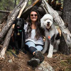 Blog author Gabriela Coote and her two dogs, Einstein and Edison