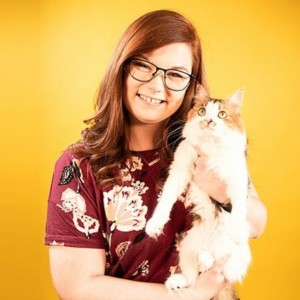 Blog author Mattie Ryder and her cat Banjo