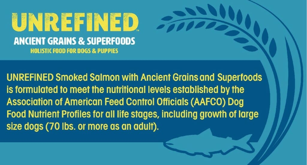 Example of an AAFCO Nutritional Adequacy Statement from an Earthborn Holistic UNREFINED dog food label