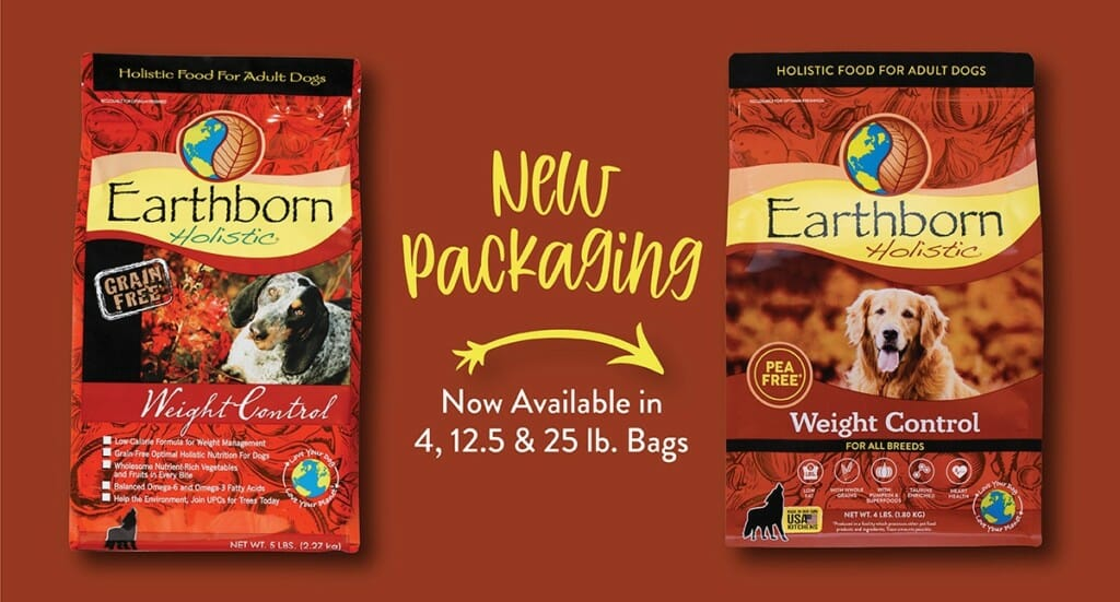 A graphic showing the refreshed Earthborn Holistic Weight Control dog food packaging compared to the old packaging