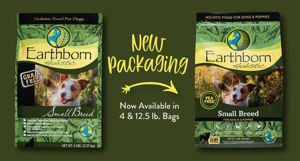 A graphic showing the refreshed Earthborn Holistic Small Breed dog food packaging compared to the old packaging