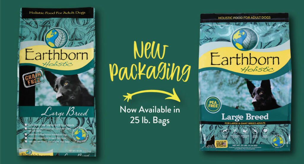 A graphic showing the refreshed Earthborn Holistic Large Breed dog food packaging compared to the old packaging