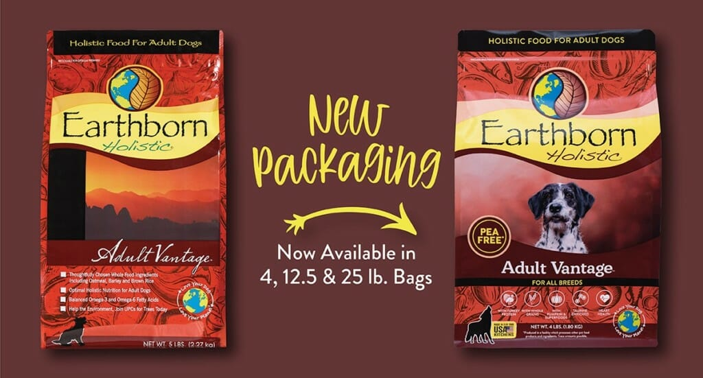 A graphic showing the refreshed Earthborn Holistic Adult Vantage dog food packaging compared to the old packaging