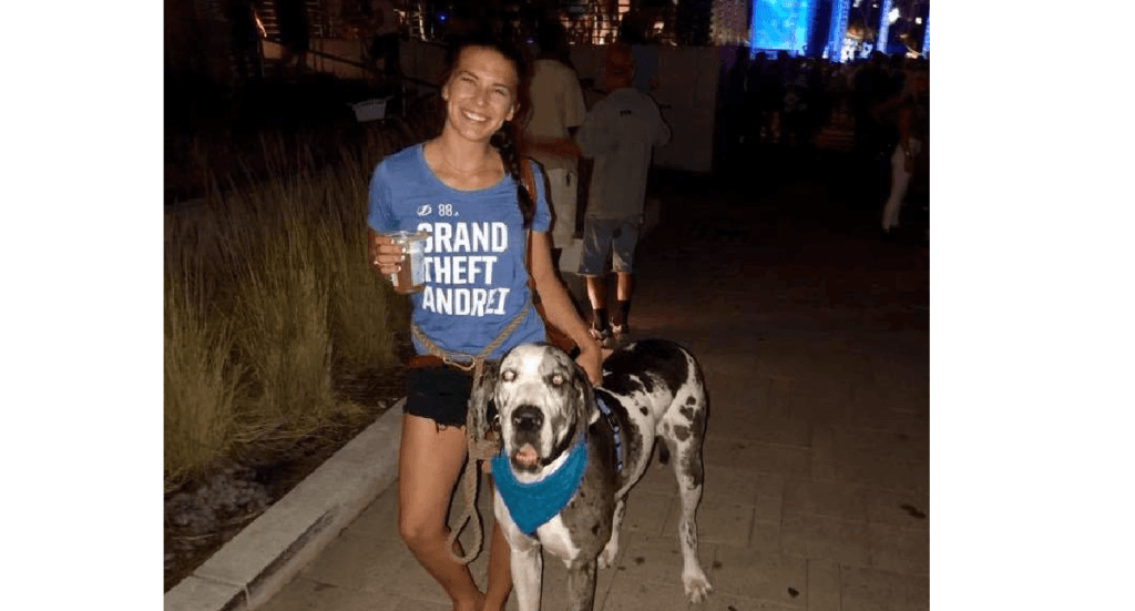A female and her great dane attend a watch Party for the Tampa Bay Lightning at Curtis Hixon Park Downtown in Tampa