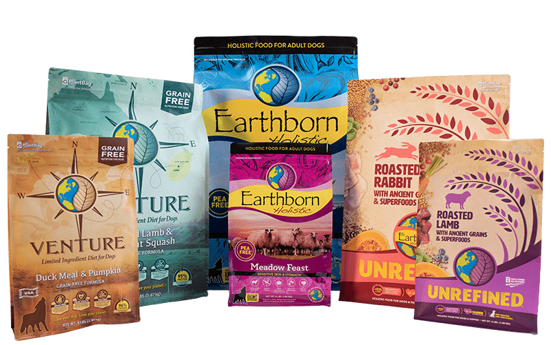 Assorted packages of Earthborn Holistic dog food