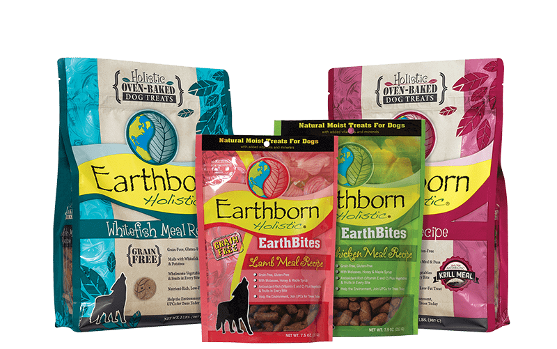 Assorted packages of Earthborn Holistic dog treats