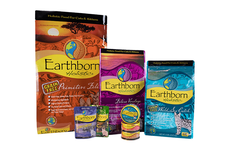 Various bags of Earthborn Holistic cat food