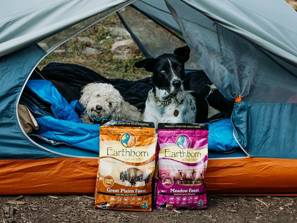 Two dogs resting in a tent beside bags of Earthborn Holistic dog food