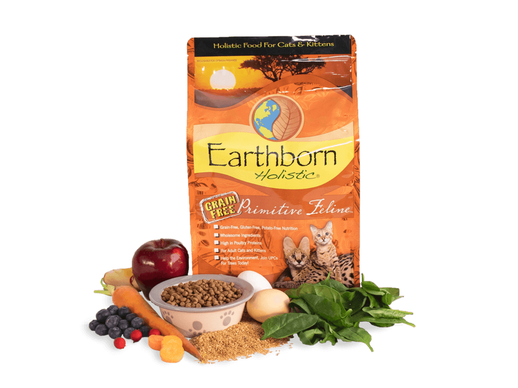 Earthborn Holistic bag with bowl of kibble and fresh ingredients