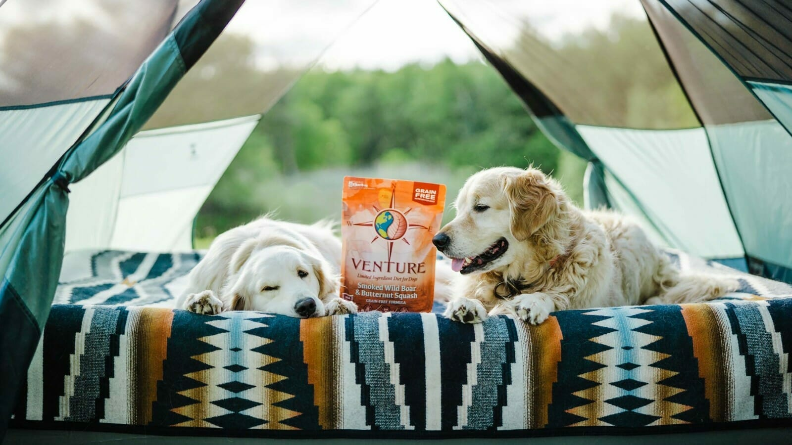 Two dogs laying in a tent next to a bag of Venture pet food