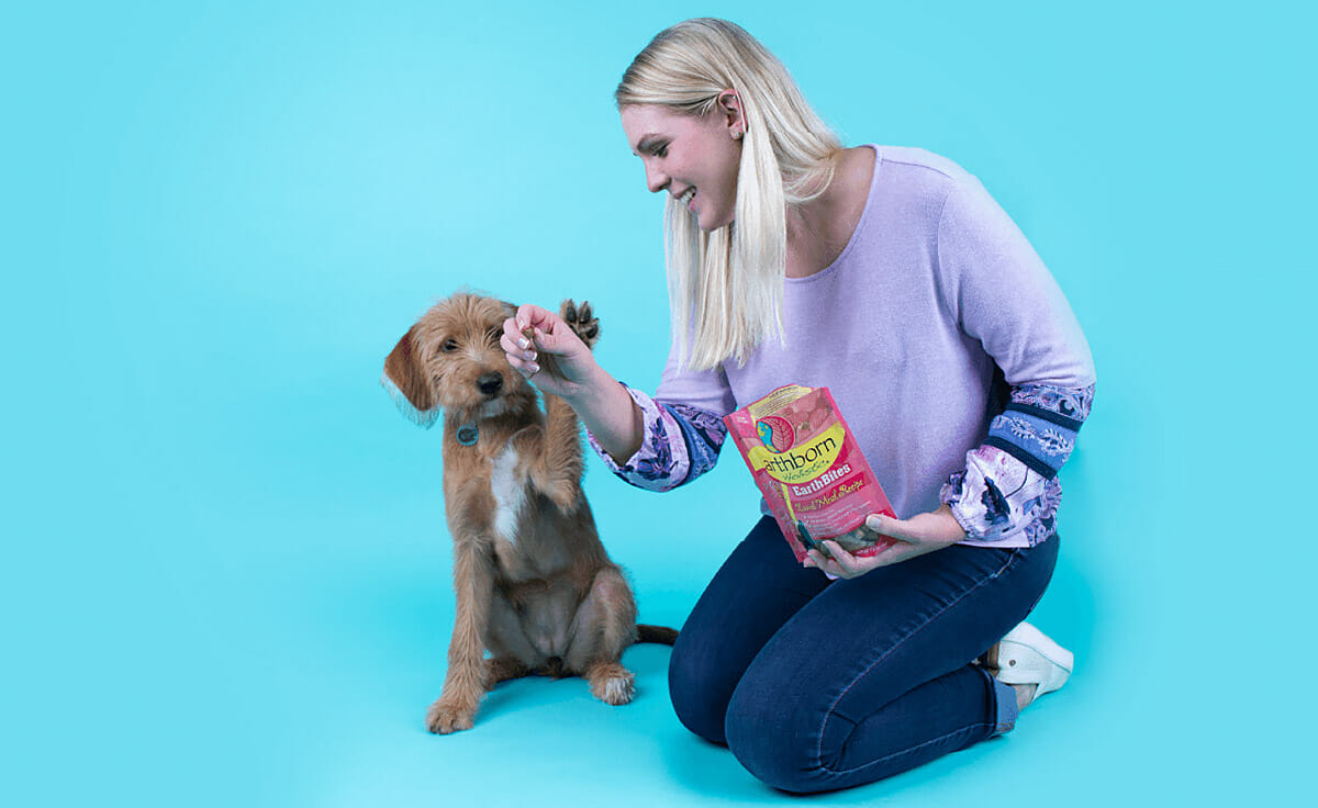 A woman sits on the ground offering her dog a treat as she does a trick