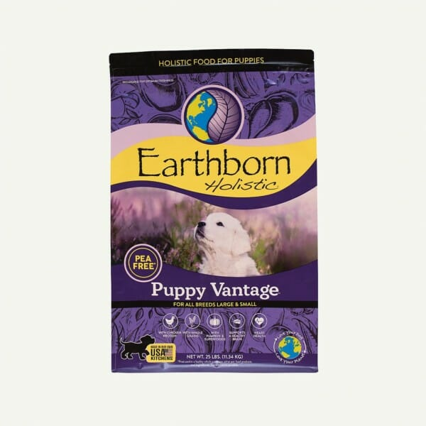 Earthborn Holistic Puppy Vantage dog food - front of bag (25lb)