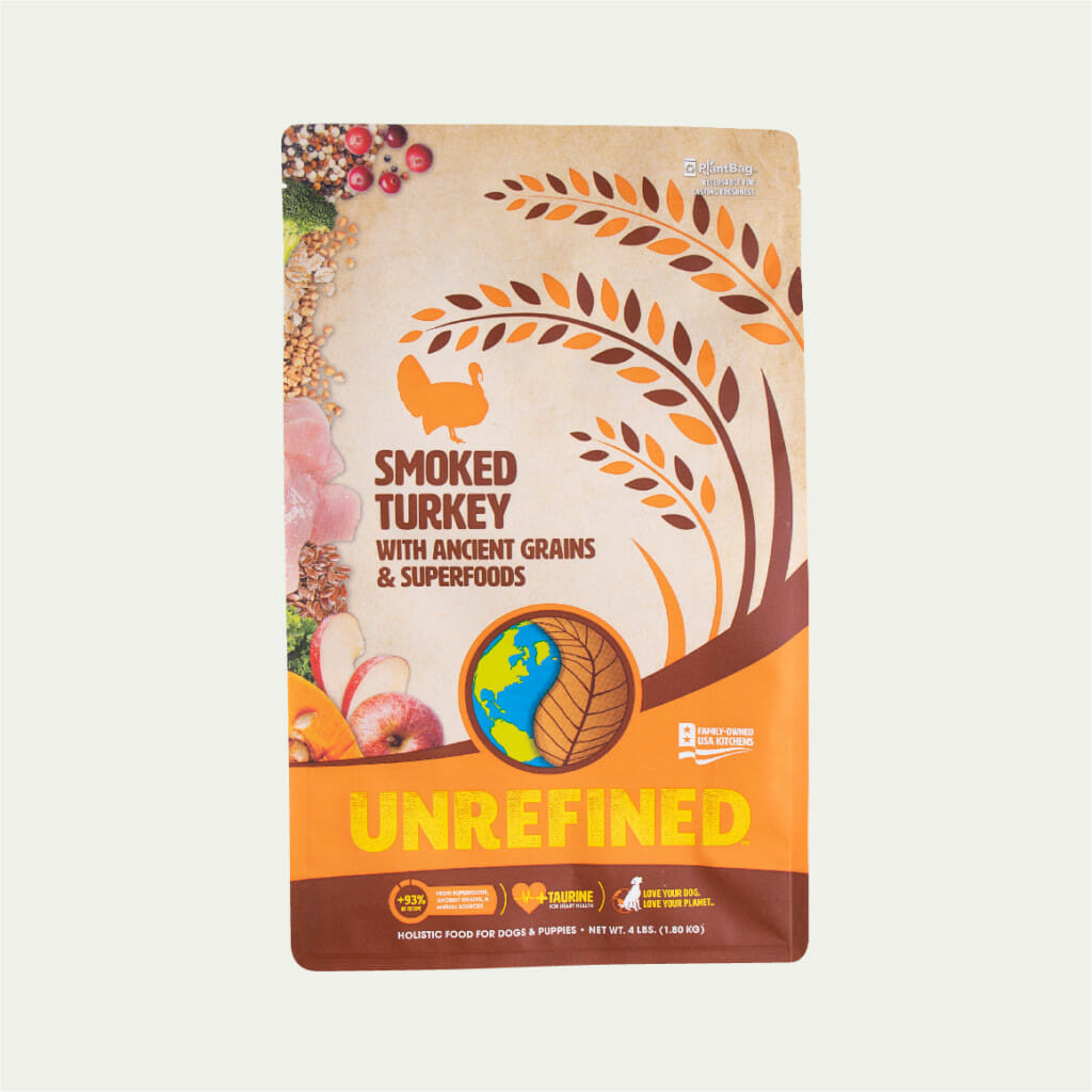 Earthborn Holistic Unrefined Smoked Turkey with Ancient Grains & Superfoods dog food - front of bag