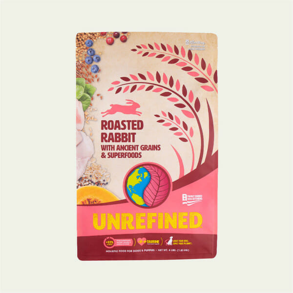 Earthborn Holistic Unrefined Roasted Rabbit with Ancient Grains and Superfoods dog food - front of bag