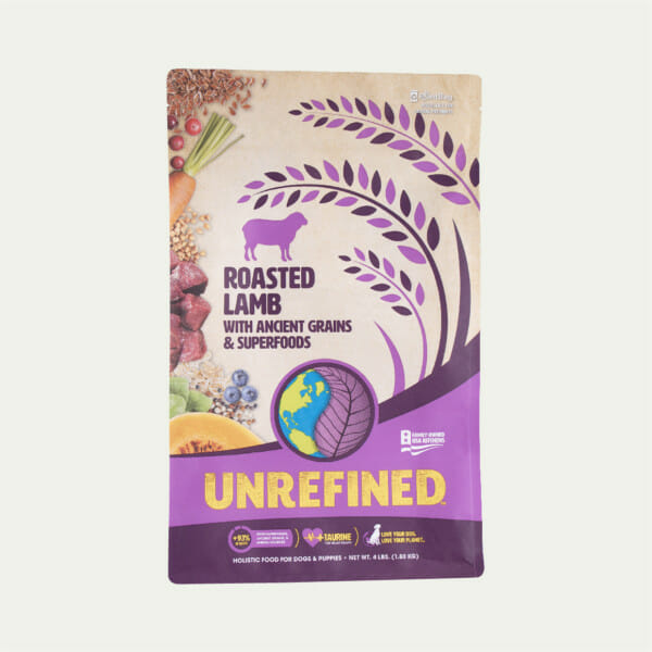 Earthborn Holistic Unrefined - Roasted Lamb with Ancient Grains and Superfoods - front of bag