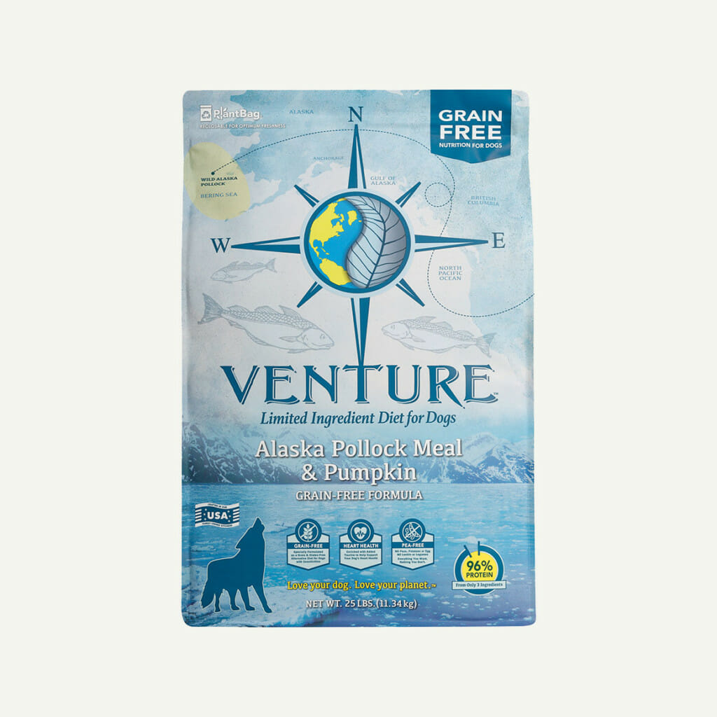 Venture Alaska Pollock Meal and Pumpkin dog food - front of bag