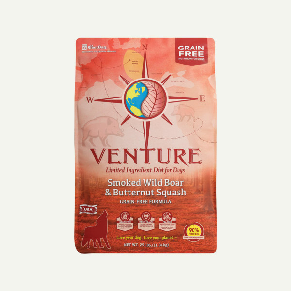 Venture Smoked Wild Boar and Butternut Squash dog food - front of bag