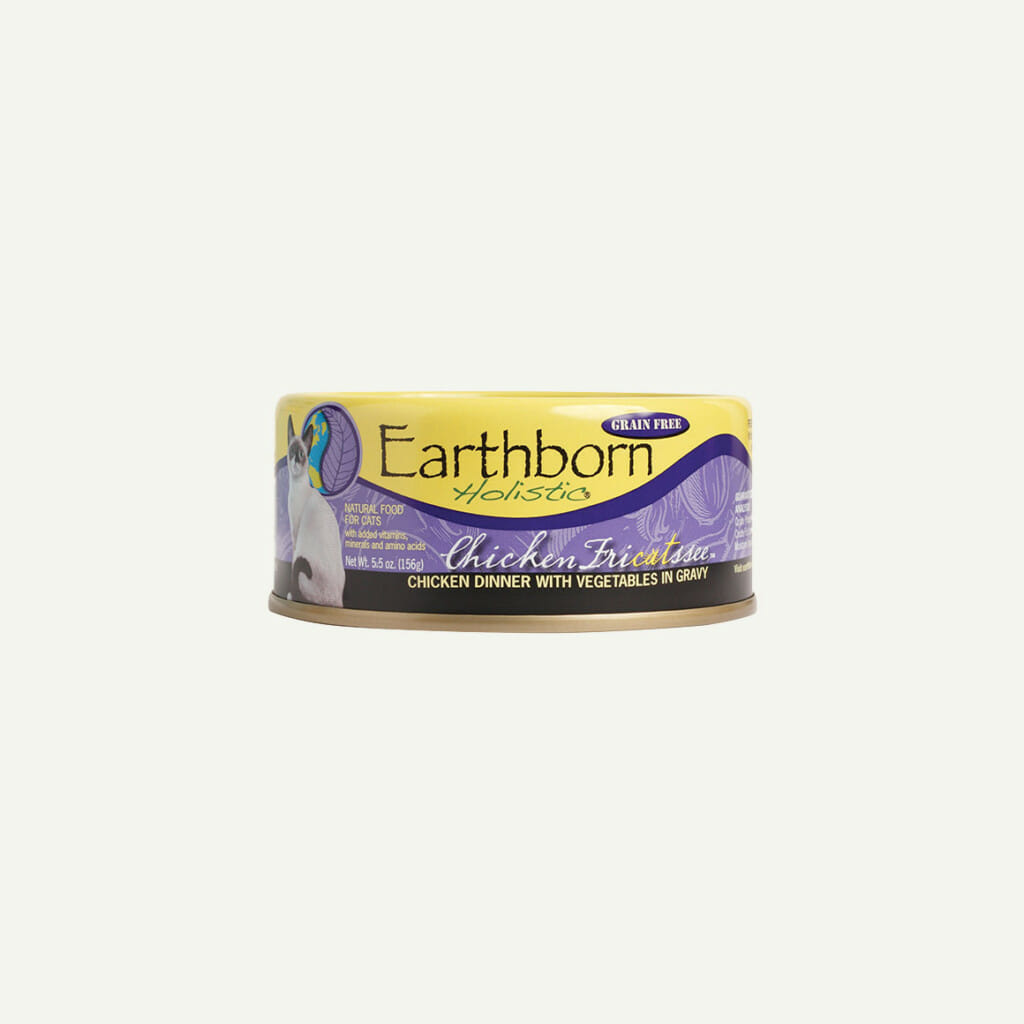 Earthborn Holistic Chicken Fricatssee cat food - front of can