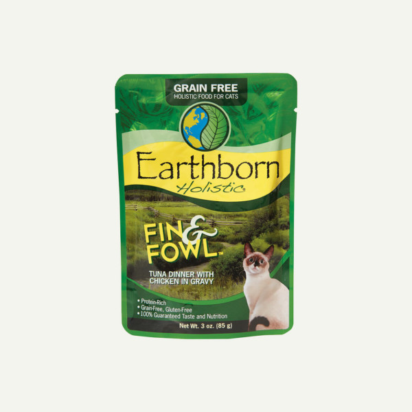 Earthborn Holistic Fin and Fowl cat food - front of pouch