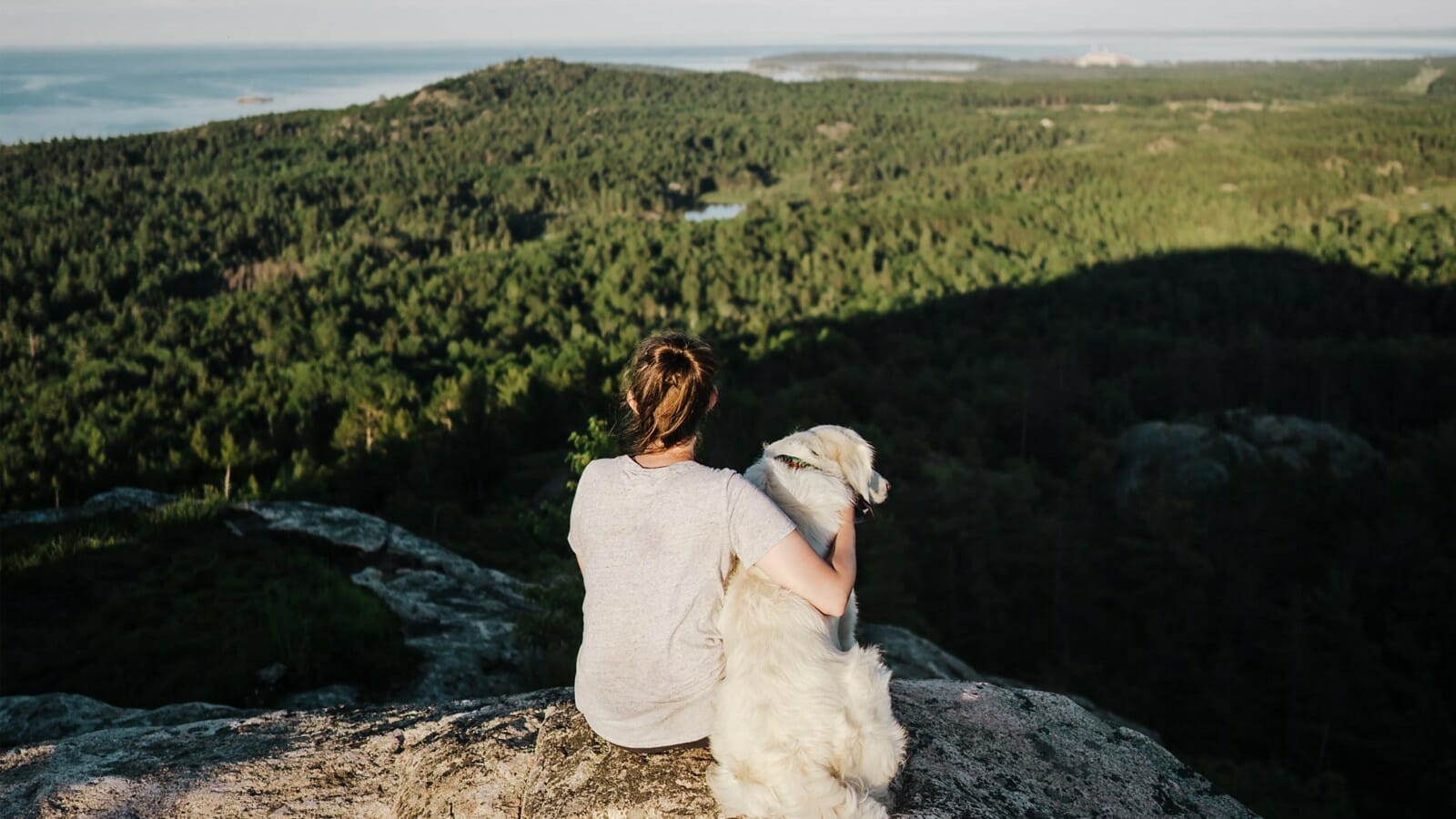 A woman and her dog sitting on a rock with a view of trees and water