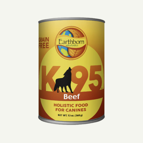 Earthborn Holistic K95 Beef dog food - front of can