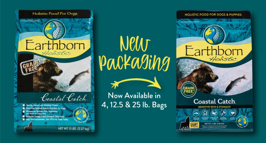 A graphic showing the updated packaging for Earthborn Holistic Coastal Catch