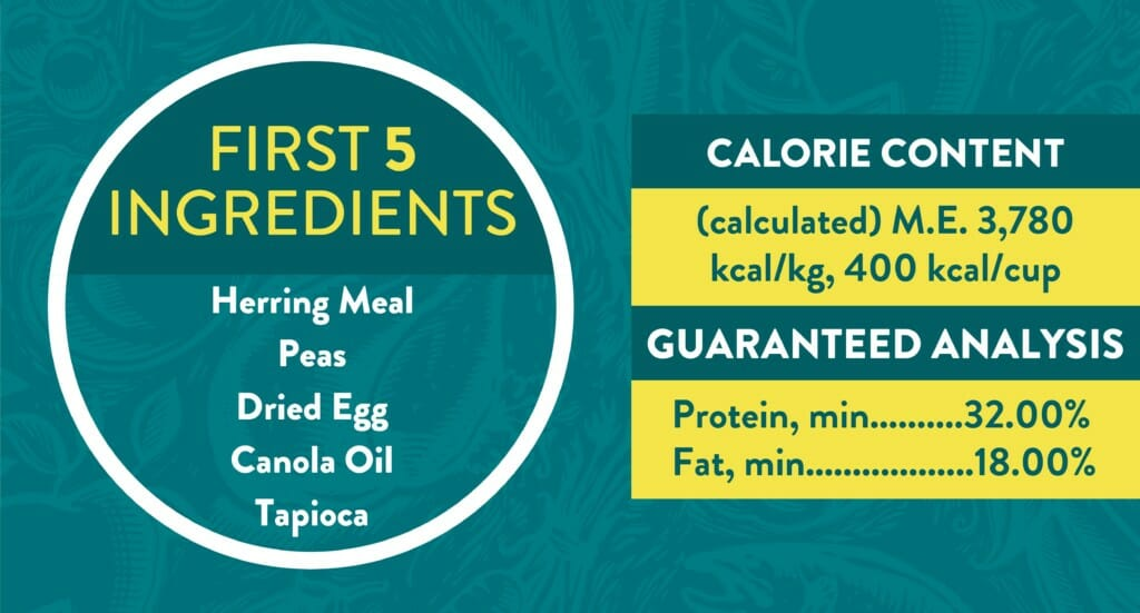 A graphic showing the first five ingredients for Earthborn Holistic Coastal Catch