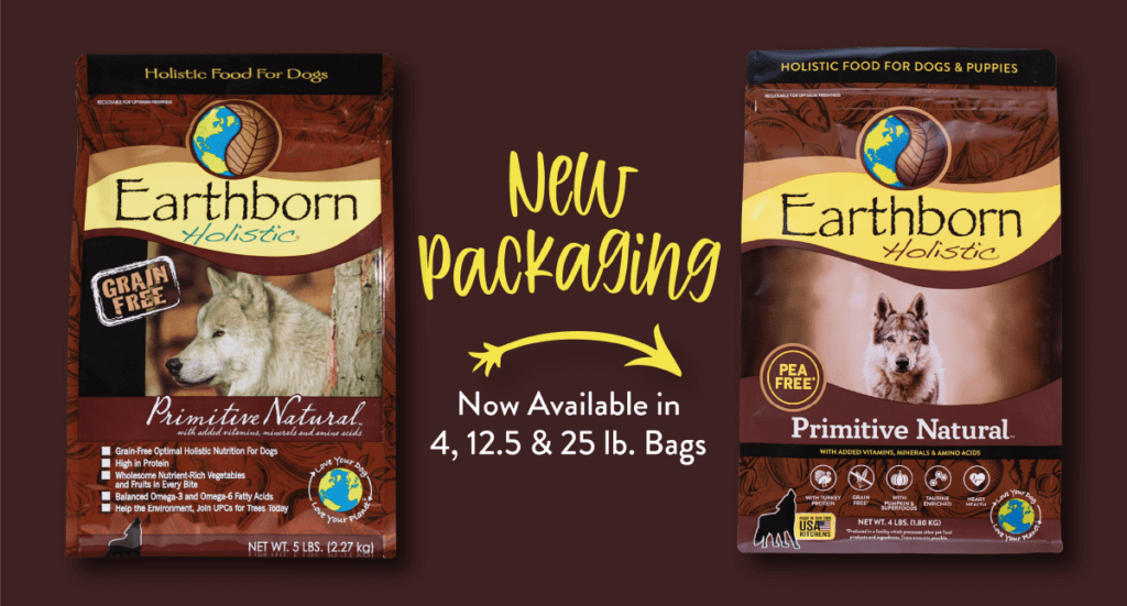 A graphic showing the new Earthborn Holistic Primitive Natural packaging