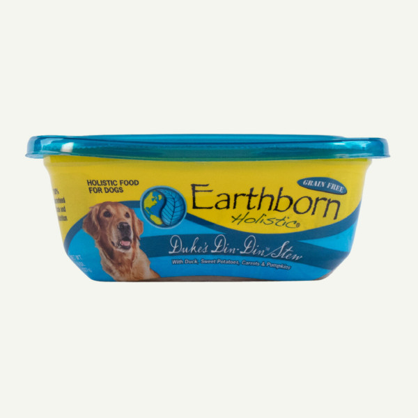 Earthborn Holistic Duke's Din-Din Stew dog food - front of tub