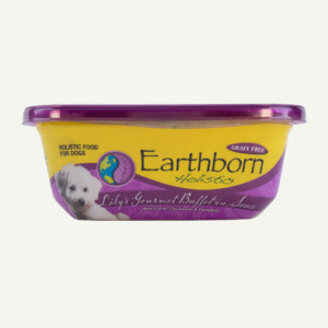 Earthborn Holistic Lily's Gourmet Buffet in Sauce dog food - front of tub