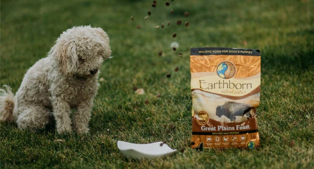 A dog watches kibble falling into a bowl next to a bag of Great Plains Feast