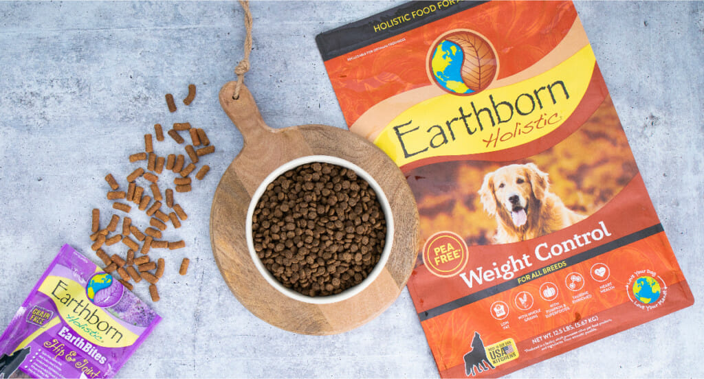 An overhead shot of Earthborn Holistic Weight Control kibble with Hip & Joint EarthBites