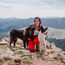 Blog author Arianna Kitzberger and her dogs, Ivy and Sierra