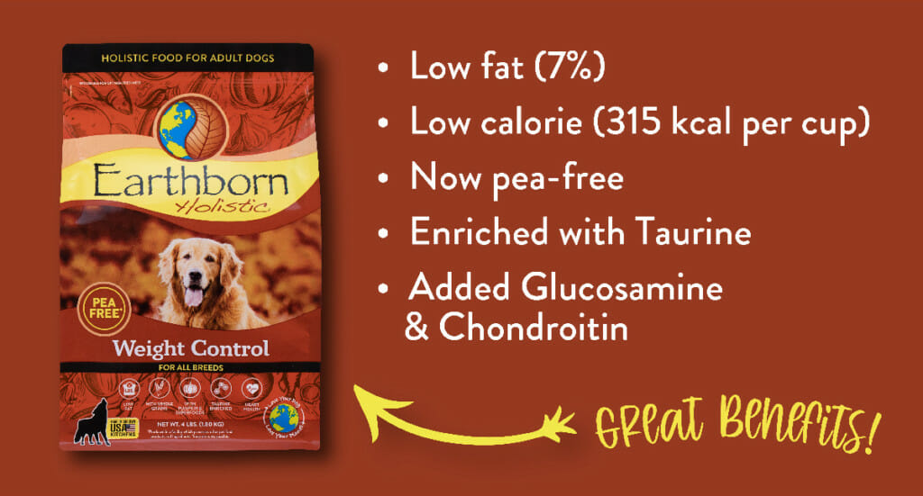 A graphic explaining the benefits of Earthborn Holistic Weight Control dog food