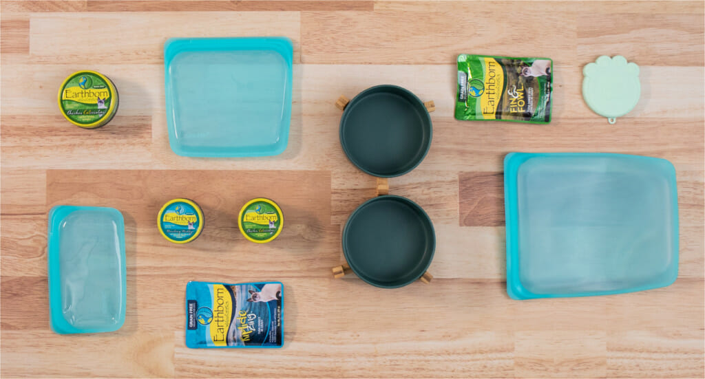 A variety of eco-friendly cat and kitchen products