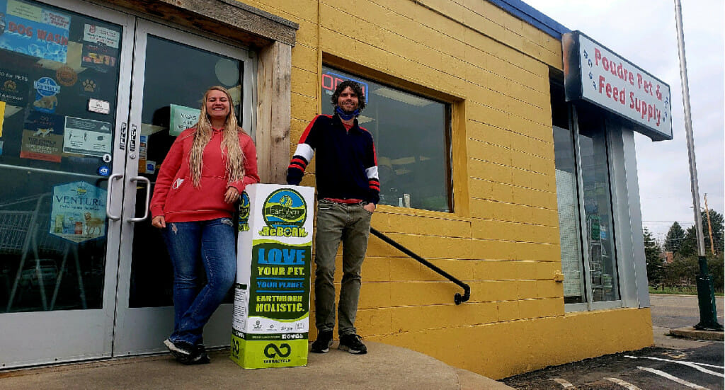 Poudre Pet Supply employees with their ReBorn recycling bin