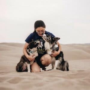 Blog author Sydney Ryan with her dogs, Ego & Entitled