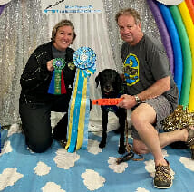 JD and Ronalee McKnight pose with their famous dock diving dog, Storie