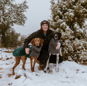 Blog author Kylee Cornwall and her dogs, Rae and Remi