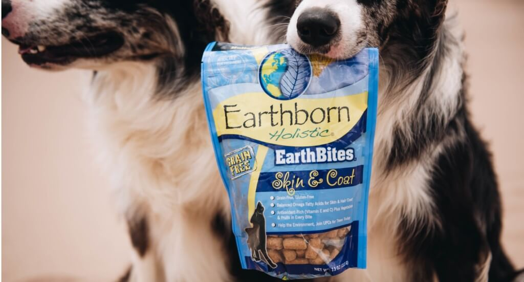 A dog holds a bag of EarthBites Skin & Coat treats in his mouth